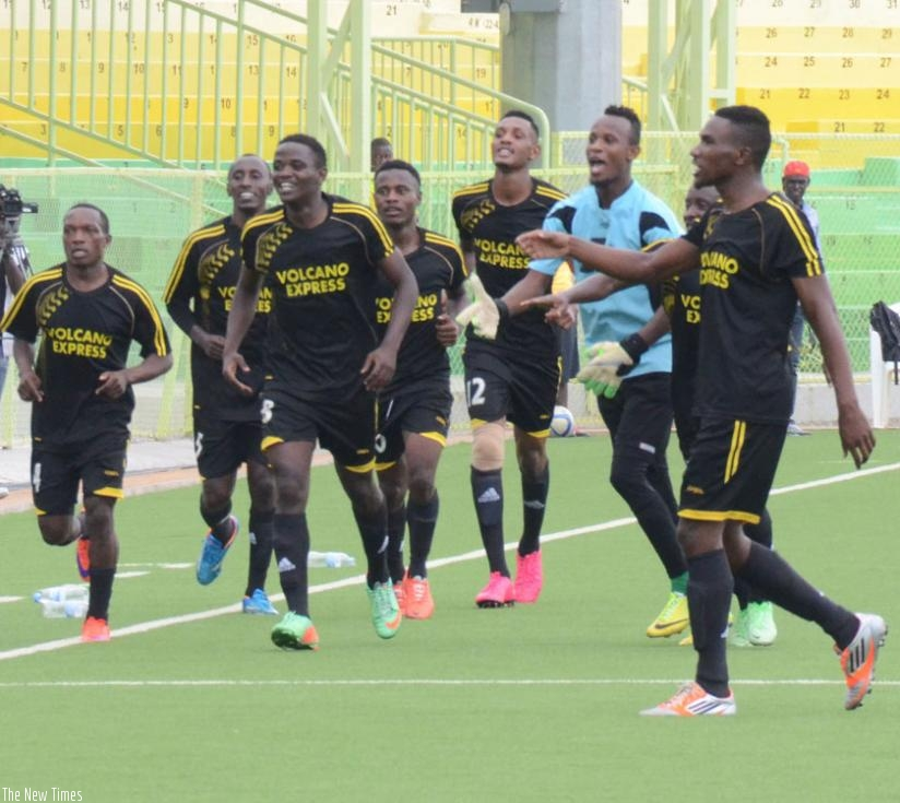 Muhadjiri (L) leads his teammates in celebrations after scoring as AS Kigali. The youngster is the league top scorer with 9 goals. (S. Ngendahimana)