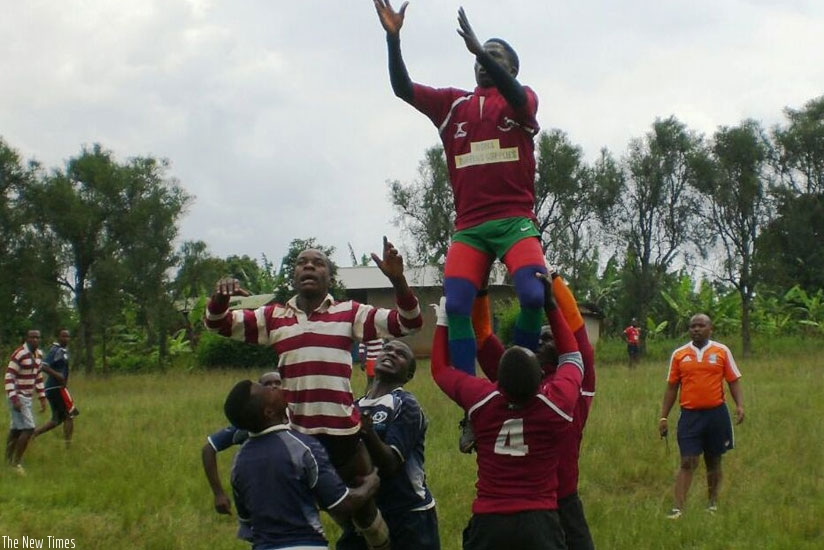 League debunt Resilience compete in a line-out in their previous game against Kamonyi this season. (Courtesy)