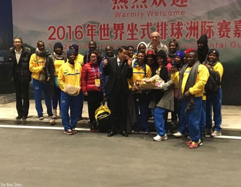 Women sitting volleyball team received a warm welcome from tournament organizers in China. (Courtesy)