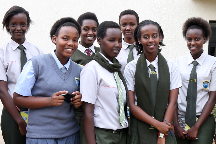 Students pose in a group photo after a study tour at The New Times offices in Kimihurura. (File)