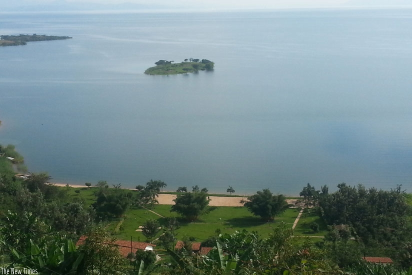 A spectacular view of the lake an island and a resort hotel. (Allan Brian Ssenyonga)