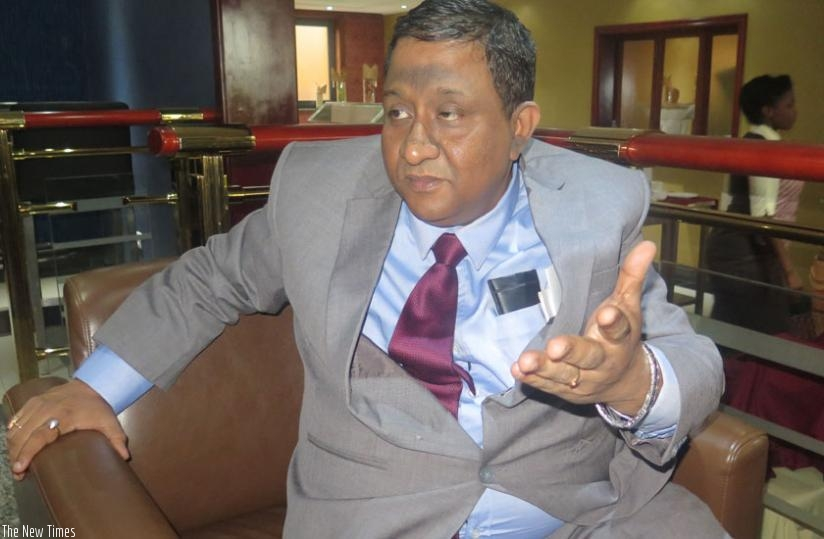 Mitra speaks during the interview with The New Times. (Solomon Asaba)