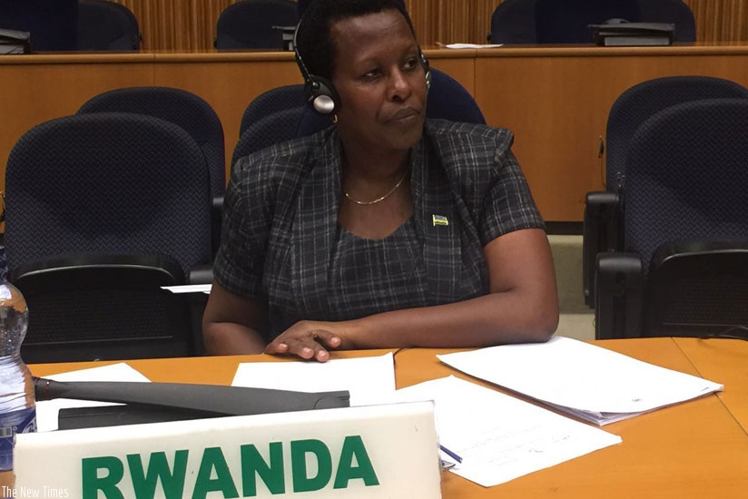 Amb. Tumukunde at the AU Peace and Security session yesterday. (Courtesy)