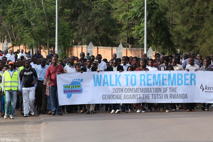 Rwandans participate in Walk to Remember in 2014. The walk is a show of solidarity and symbolises how Rwanda was abandoned by the international community during the 1994 Genocide a....