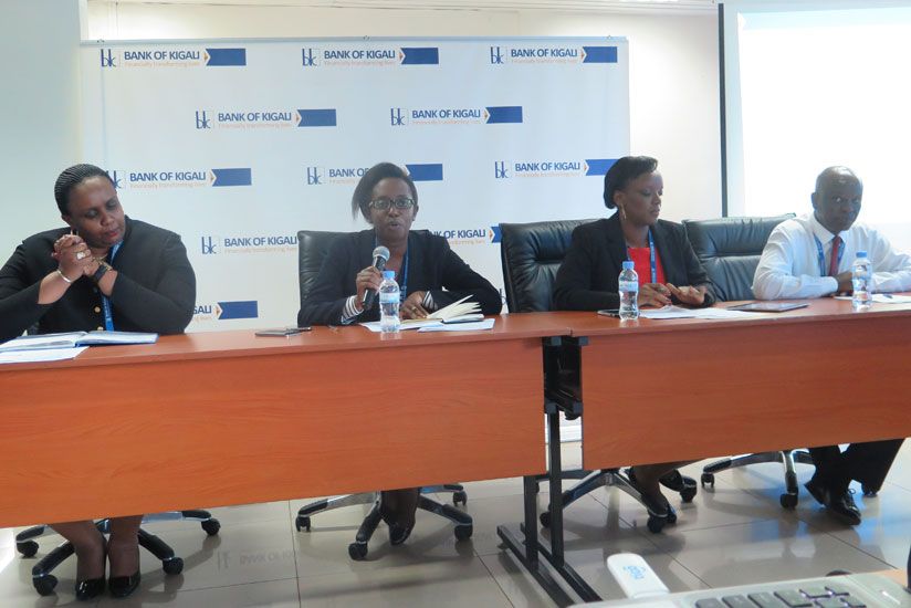 L-R: Flora Nsinga, Chief Shared Services Officer, Dr Diane Karusisi CEO, Nathali Mpaka, chief finance officer and Lawson Naibo, Chief Operating Officer, during a press briefing at ....