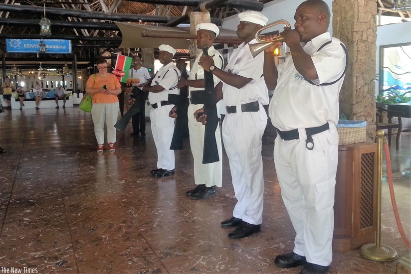 Being welcomed on board at Voyager Resort Beach. (Allan Brian Ssenyonga)