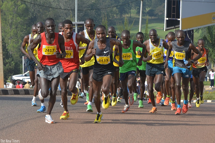 Athletes druing last year's Kigali Peace Marathon race. The Athletics Federation has vowed to crack down on cheating in today's race. (Sam Ngendihimana)