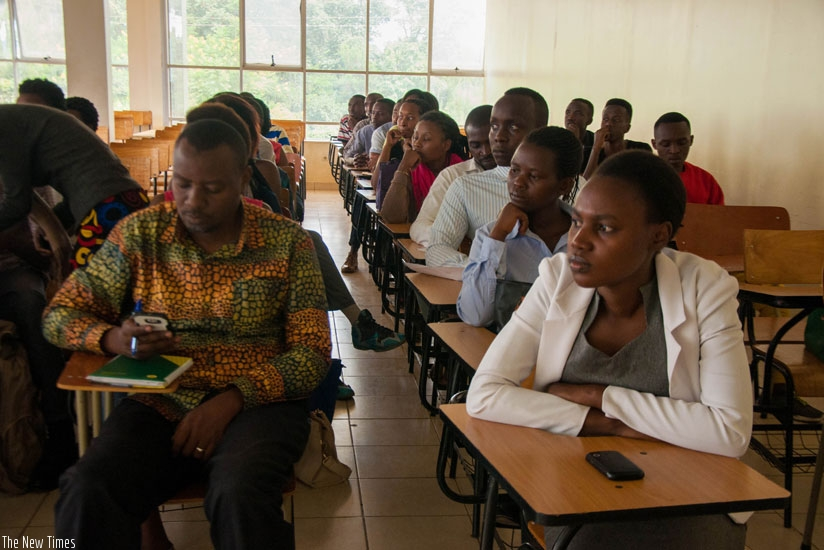 Participants follow proceedings during induction meeting at the University of Kigali. (Teddy Kamanzi)