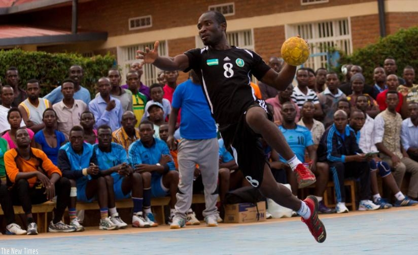 APR's attacker Viateur Rwamankwa prepares to shoot during their recent game against Police. (T. Kisambira)
