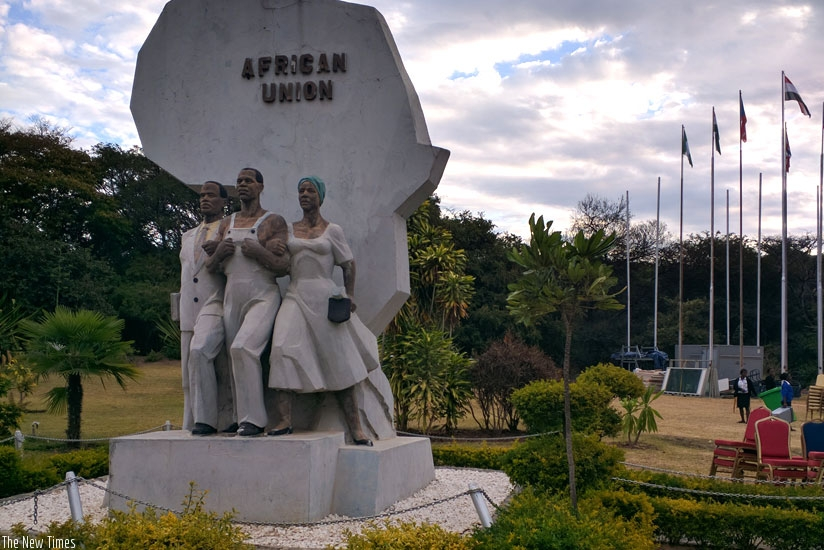The African Union Statue outside Zambia's Mulungushi international Conference Centre in Lusaka. (Kenneth Agutamba)