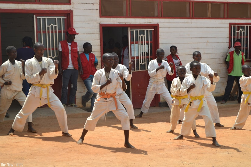 Refugee children at Mahama camp train in Karate on Wednesday. (Frederic Byumvuhore)