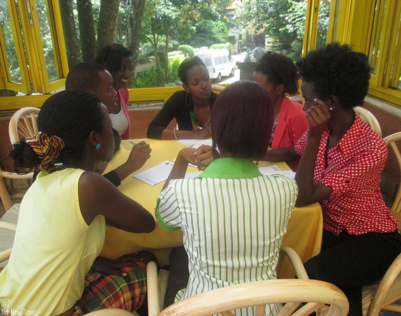 Some hotel workers during a session in customer care during the Na Yombi drive organised by Rwanda Development Board in 2014. The skills offered by local hospitality and hotel management training institutions have come under scrutiny.  (File)