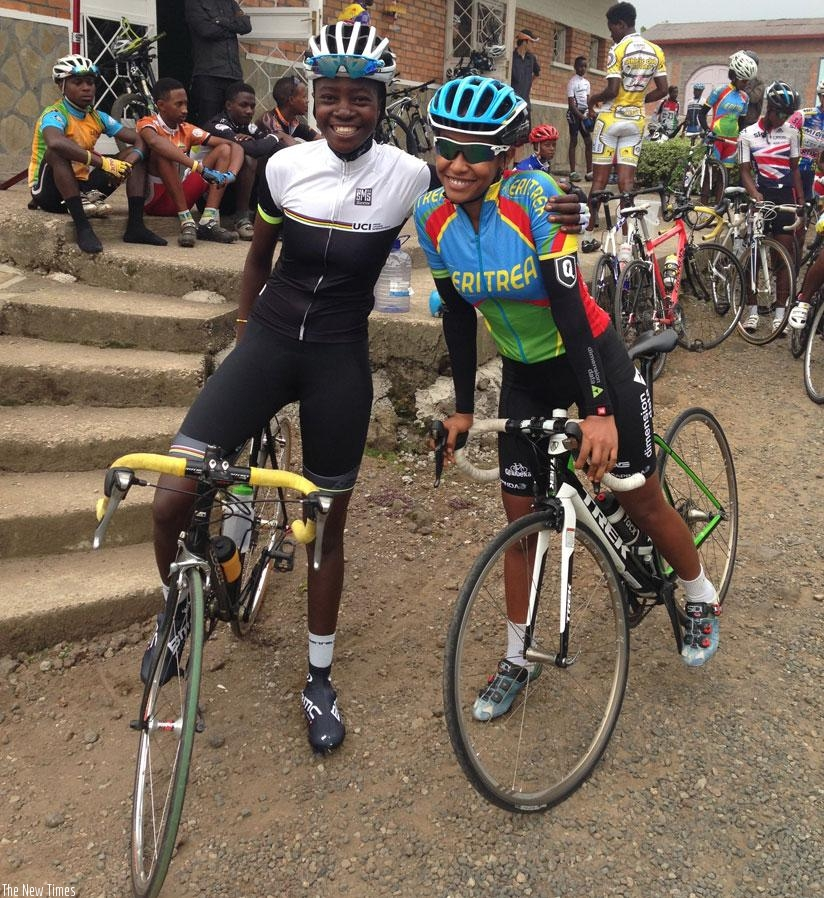 Jeanne d'arc and Mosana Debesay from Eritrea at the Musanze-based Africa Rising Cycling Center. (Courtesy)