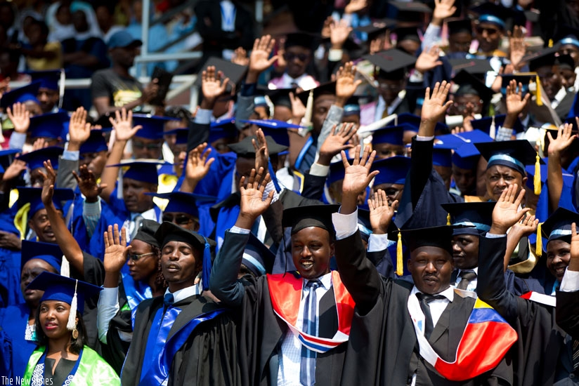 Graduands celebrate during the University of Rwanda graduation ceremony held in Kigali last Friday. / File photo.