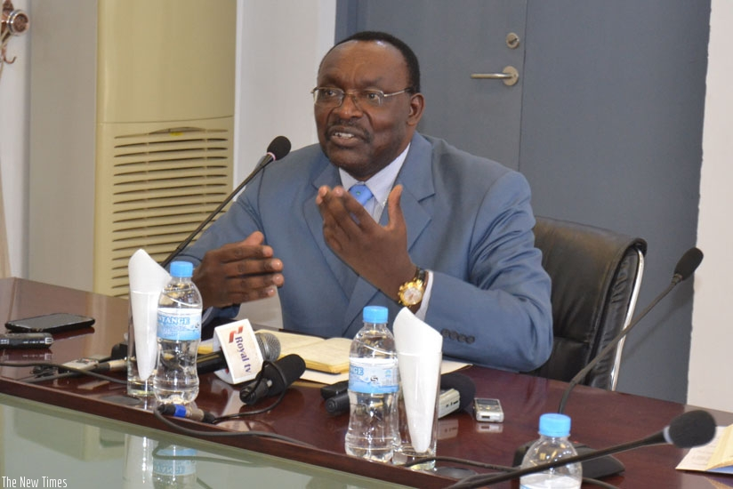 Minister Kanimba speaks during the news conference in Kigali, yesterday. (Frederic Byumvuhore)