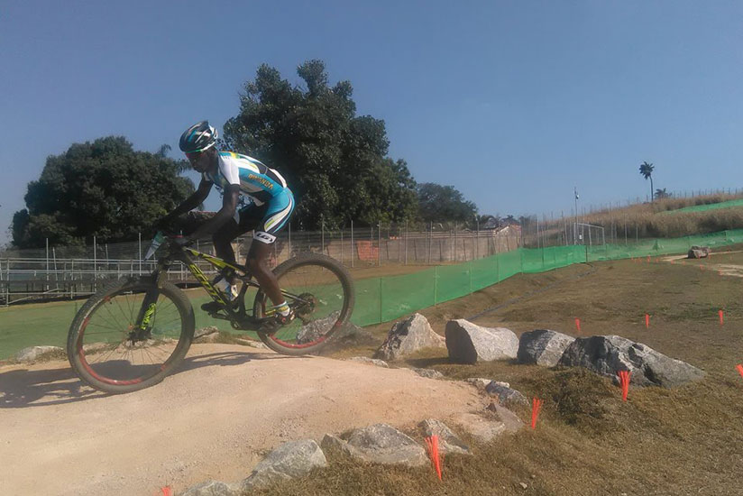 Nathan Byukusenge trains in Rio de Janeiro ahead of the mountain bike race, which he did not finish. / Courtesy