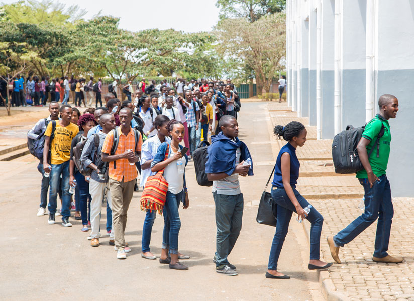 Some of the students line up at Petit Stade in Remera to be briefed ahead of a weeklong civic education. (Photos by Faustin Niyigena)