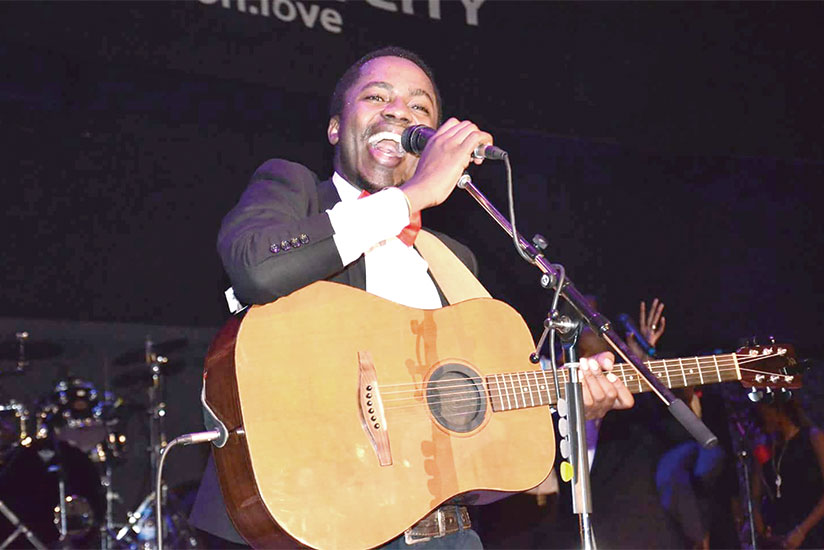 Gospel musician Luc Buntu performs at a recent event in Kigali. / Courtesy