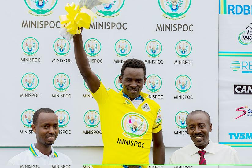 Areruya on the podium after scooping the yellow jersey during Stage 1 of Tour du Rwanda. / File