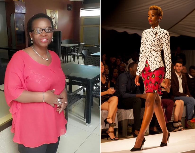 LEFT: Elyse Furaha is the founder of Beauty Face Invention and organiser of the Friday fashion show. RIGHT: A model showcases local designs at a past fashion show in Kigali. / File