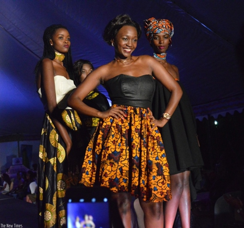Models pose in different Kitenge designs. (All photos by Eddie Nsabimana)