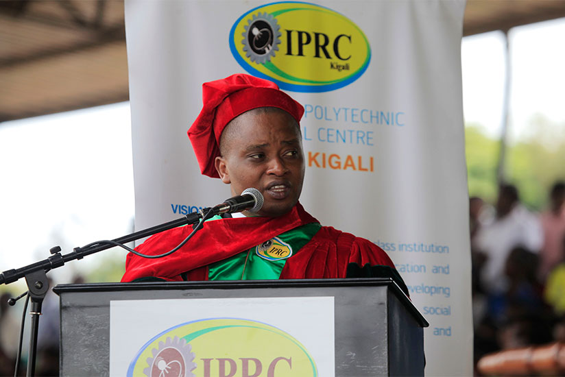 1489096838State-Minister-in-charge-of-TVET-Olivier-Rwamukwaya-gives-his-remarks-to-the-graduands-at-IPRC-Kigali-yesterday-(Sam-Ngendahimana)