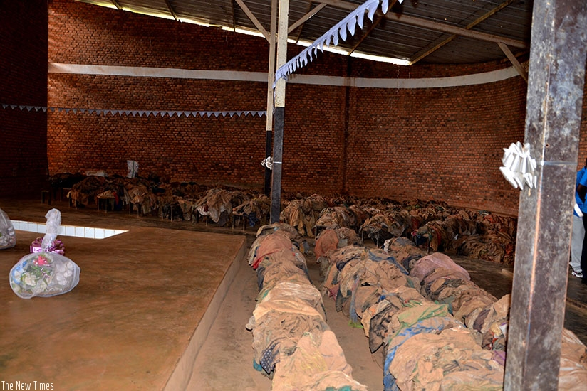 Clothes of some of the victims of the 1994 Genocide against the Tutsi inside Nyamata Genocide memorial, former Catholic church. (Sam Ngendahimana)