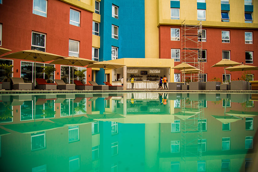 The pool side view of Park Inn by Radisson located in Kiyovu. / All photos by Timothy Kisambira
