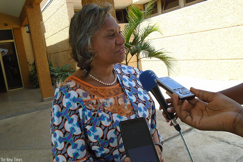 Dr Onabanjo speaks to the media in Kigali. (S. Muvunyi)