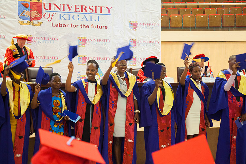 University of Kigali graduates celebrate after being conferred upon during the graduation ceremony at Kigali Convention Centre yesterday. A total of 130 students were awarded degre....