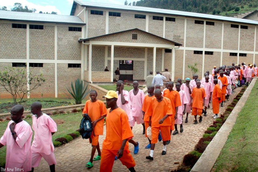 Inmates at Mpanga Prison in Nyanza District. File.