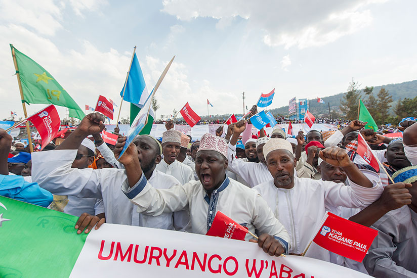 Kagame's supporters at his campaign rally in Nyarugenge, Kigali last week. Courtesy.