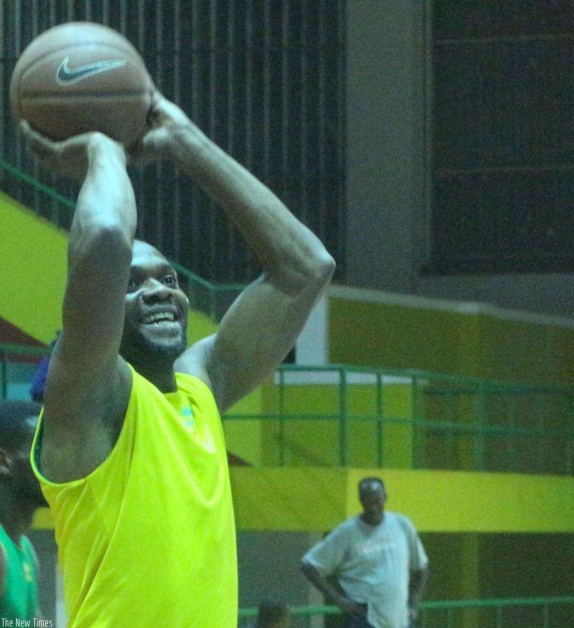 Kami Kabange, aims to take a shot during training, he scored 16 points as Rwanda lost 67-68 against Mali on Sunday in a warm-up game. Courtesy