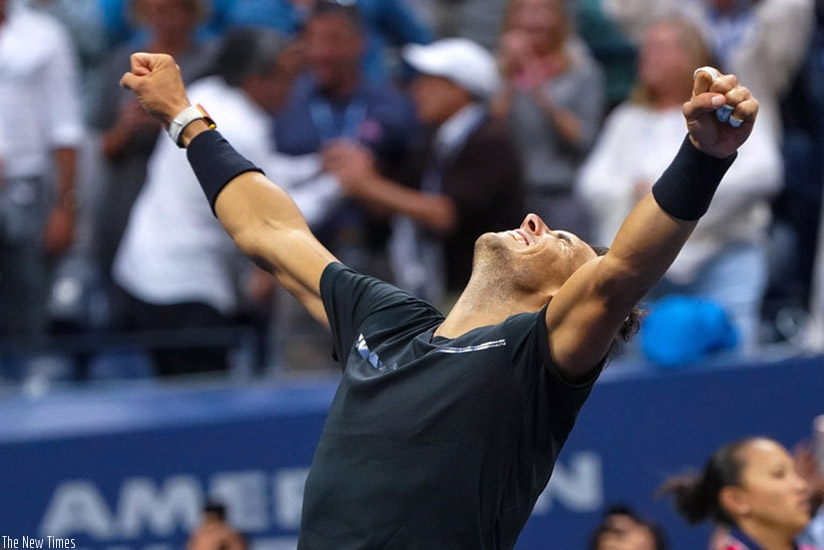 Rafael Nadal after beating the 28th-seeded Kevin Anderson in straight sets Sunday to win his third U.S. Open title (Agencies)
