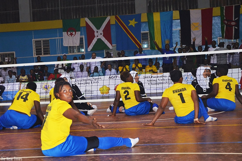 National sitting volleyball  team during a past match. (Sam Ngendahimana)