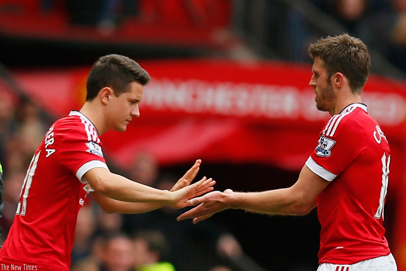 Manchester United's Ander Herrera comes on as a substitute for Michael Carrick. Net photo