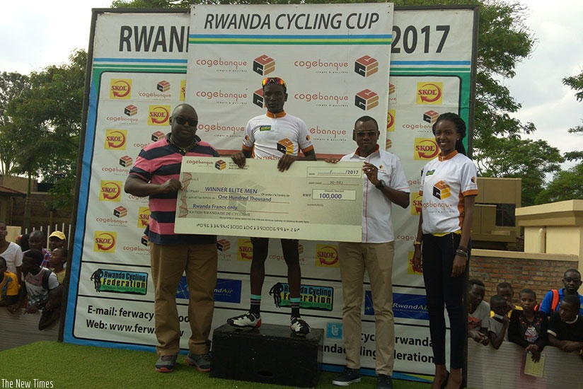 Benediction Club rider Patrick Byukusenga registered his first win of the year with victory in the Muhanzi Challenge race on Saturday. / Courtesy