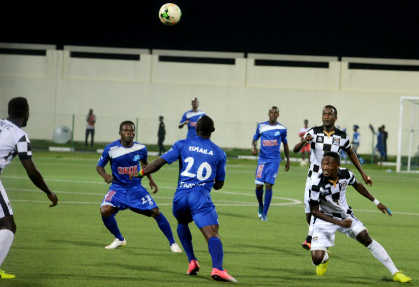 Pierrot Kwizera (#23) and Ismaila Diarra scored Rayon Sports' two goals before the match was called off due to power failure at Umuganda Stadium in Rubavu. / Courtesy