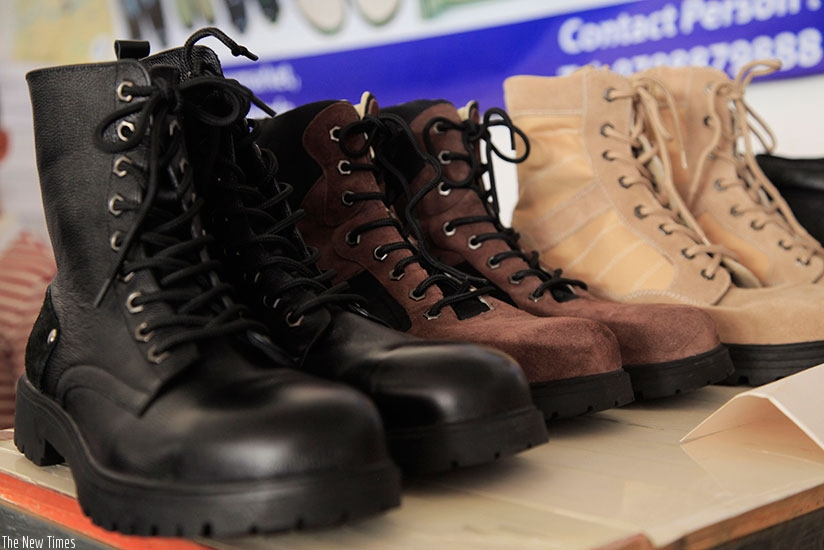 Locally-made boots exhibited by Kigali Leather at the last RITF. Expos promote SME growth. / Samuel Ngendahimana