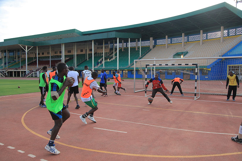 APR Handball Club players in training head of the African Champions League in Tunisia. (D. Sikubwabo)