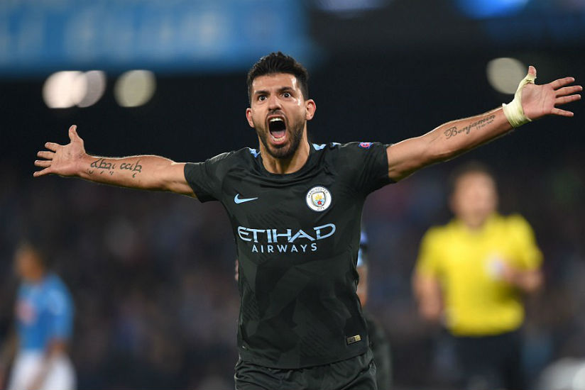 Sergio Aguero became Manchester City's all-time record goal scorer when he hit the winning goal in the victory over Napoli. / Internet photo