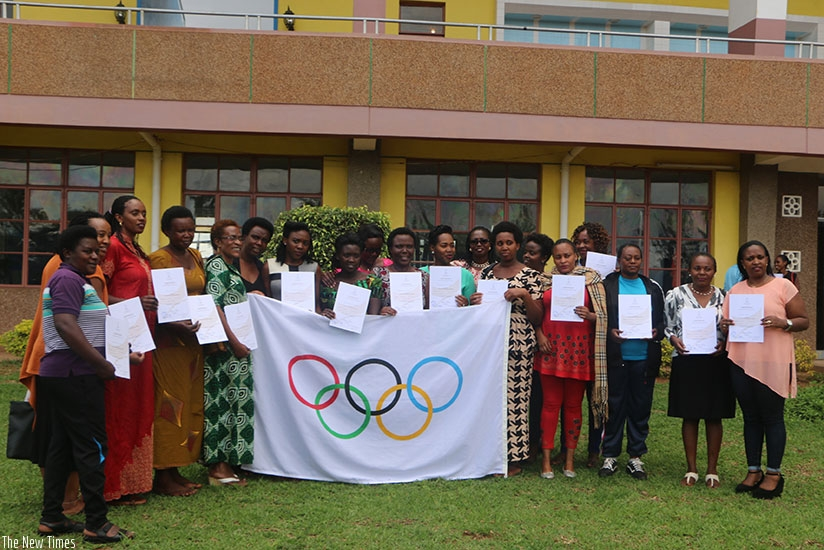 Women sports leaders, who attended the five-day training course in Sports Administration, pose with their certificates. Courtesy