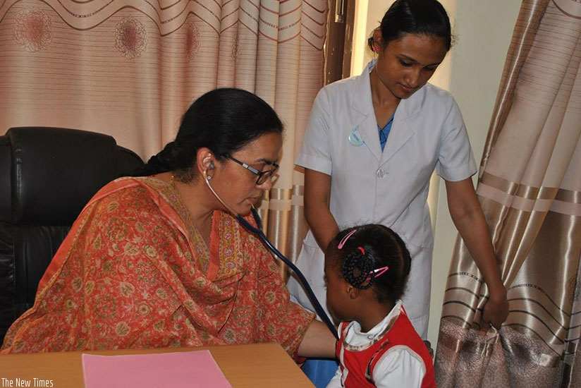 Dr Anuradha Sridhar checks a child with a congenital heart problem. / Lydia Atieno.
