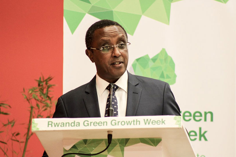 Environment Minister, Vincent Biruta makes his opening remarks at the launch of the Green Growth Week at Kigali Convention Centre on Monday. (Courtesy photo)