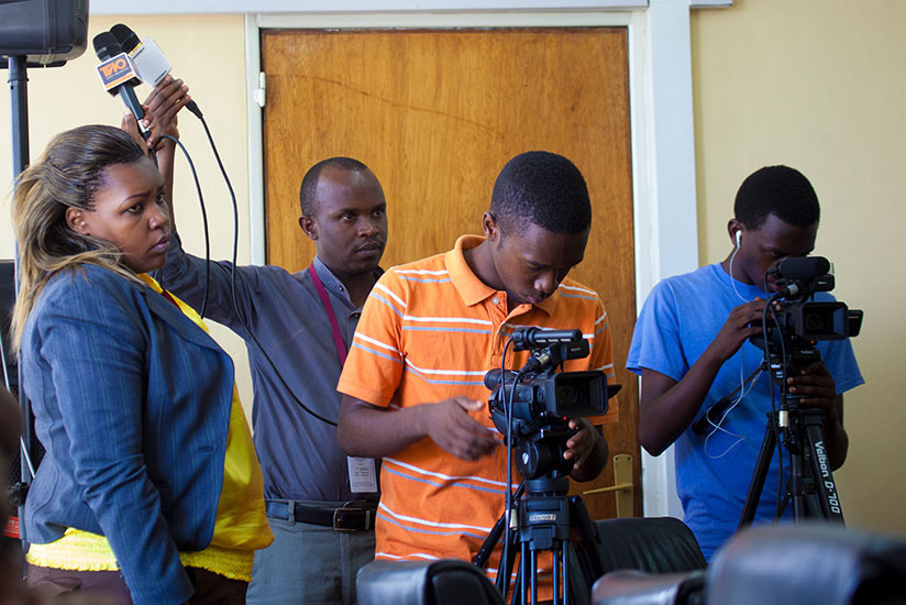 Journalists cover an event in Kigali. / File