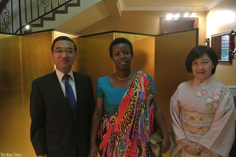 The Japanese envoy, his wife and minister Germaine Kamayirese. (Courtesy)