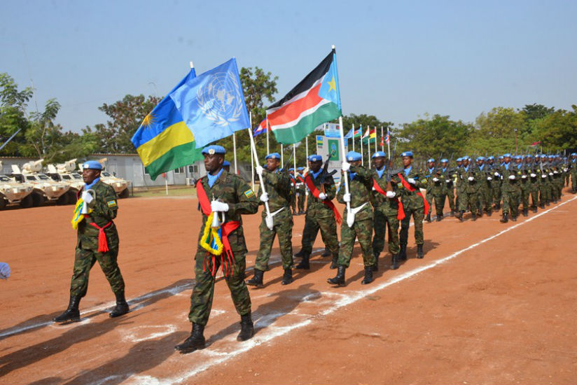 RDF peacekeepers mount a parade during the medal awarding ceremony in South Sudan. / Courtesy
