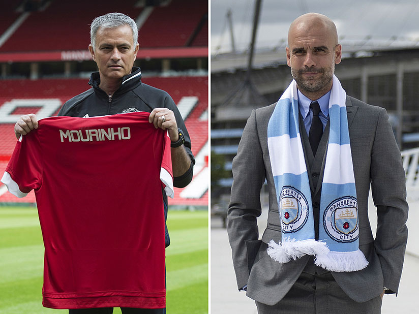 Manchester City's manager Pep Guardiola (L) and Manchester United's manager Jose Mourinho will meet on the pitch for the toughest test of their Premier League title credentials so ....