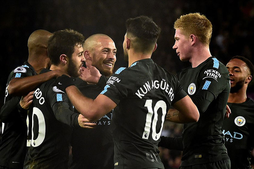 Bernardo Silva, Fernandinho and Co celebrate with the Spaniard after his goal put them into a 1-0 lead on Wednesday.