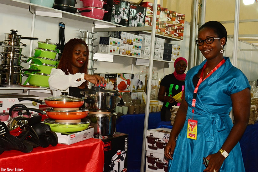 Haguma (foreground) at the expo. Local firms are participating in the expo. / Frederic Byumvuhore.
